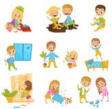Cute little bully kids set, hoodlum cheerful children, bad child behavior vector Illustrations on a white background. Cute little bully kids set, hoodlum royalty free illustration