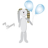 Cute little Bunny with balloons, on a white background Stock Photography