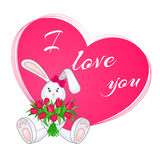 Cute little bunny with bouquet of tulips. Valentine card. Stock Photography