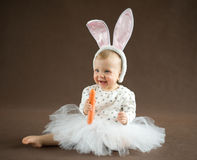 Cute little bunny with carrot. On brown Royalty Free Stock Photography