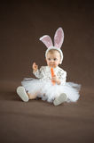 Cute little bunny with carrot Royalty Free Stock Photos
