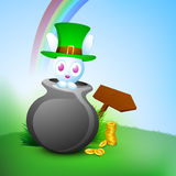 Cute little bunny in pot royalty free illustration