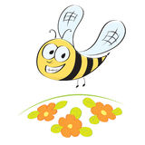 Cute little cartoon bee. Flying over flower meadow - eps format available vector illustration