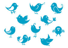 Cute little cartoon bird icons Royalty Free Stock Photo