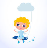 Cute little cartoon Christmas Angel blond hair Stock Photography