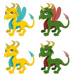 Cute little cartoon dragons collection Royalty Free Stock Photo