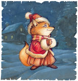 Cute little cartoon fox on the winter background Stock Image