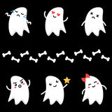 Cute little cartoon ghosts characters with different facial expressions. Emoji set, collection on dark background. Stock Image