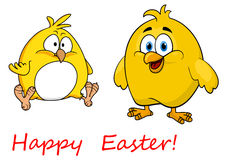 Cute little cartoon Happy Easter chicks Royalty Free Stock Images