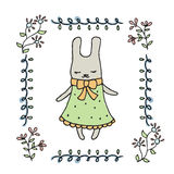 Cute little cartoon hare. Greeting card with cartoon hare Royalty Free Stock Images