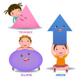 Cute little cartoon kids with basic shapes ellipse arrow stock illustration