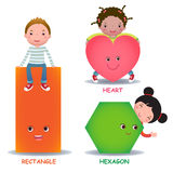 Cute little cartoon kids with basic shapes heart hexagon rectang Stock Photography