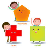 Cute little cartoon kids with basic shapes square cross pentagon Royalty Free Stock Image