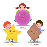 Cute little cartoon kids with basic shapes star circle diamond