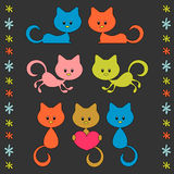 Cute little cartoon kittens Royalty Free Stock Image