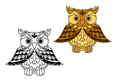 Cute little cartoon owl with outspread wings Stock Images