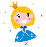 Cute little cartoon princess Stock Photos