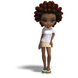 Cute little cartoon school girl with curly hair. Stock Images