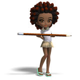Cute little cartoon school girl with curly hair. Royalty Free Stock Photo