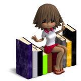 Cute little cartoon school girl with many Stock Photo