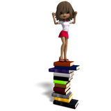 Cute little cartoon school girl with many books. 3D rendering with clipping path and shadow over white Stock Photography