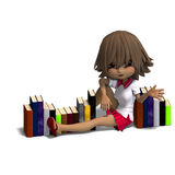 Cute little cartoon school girl with many books. 3D rendering with clipping path and shadow over white Stock Image