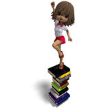Cute little cartoon school girl with many books. 3D rendering with clipping path and shadow over white Stock Photo