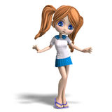 Cute little cartoon school girl with pigtails. 3D Royalty Free Stock Image