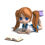 Cute little cartoon school girl reads a book. 3D Royalty Free Stock Photography
