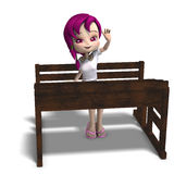 Cute little cartoon school girl sitting on a Stock Photography