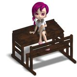 Cute little cartoon school girl sitting on a Royalty Free Stock Photography