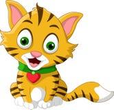 Cute little cat cartoon posing Stock Photos
