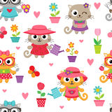 Cute little cat girls with gardening tools pattern Stock Photo