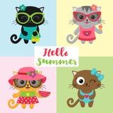 Cute little cat girls wearing dresses Stock Photography