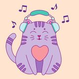 Cute little cat listening to the music stock illustration