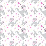 Cute little cat whith hearts seamless pattern. funny endless background, texture. Children`s backdrop. Vector stock illustration