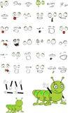 Cute little caterpillar cartoon expressions set Stock Photo