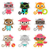 Cute little cats. Cute little cat girls and boys. Vector illustration Stock Photo