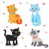 Cute little cats, vector cartoon illustration. Royalty Free Stock Photography