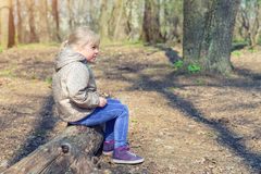 Cute little caucasian blond girl sittng on wooden log in forest and looking somewhere. Adorable pensive child dreaming about stock images