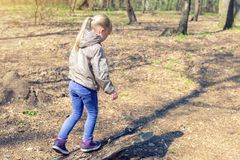 Cute little caucasian blond girl walking on wooden log in forest. Adorable child having fun during walk in park in bright sunny. Day stock image