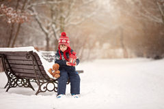 Cute little caucasian boy with teddy bear and red lantern, playi Stock Images