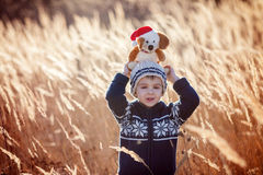 Cute little caucasian child, boy, holding fluffy toy, hugging it Royalty Free Stock Images