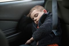 Cute little caucasian kid sleeping in car Stock Photos