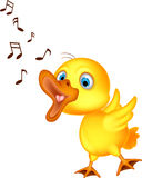 Cute little chick cartoon singing Stock Photo