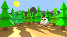 Cute little chicken alone in the forest. 3d render at sunset Royalty Free Stock Image