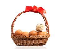Cute little chicken on eggs inside basket Royalty Free Stock Images
