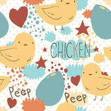 The cute little chicken seamless pattern. Vector pattern for web page backgrounds, postcards, greeting cards, invitations Stock Photos