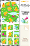 Cute little chickens visual logic puzzle Stock Images