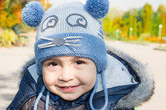 Cute little  child boy  in autumn Stock Photos